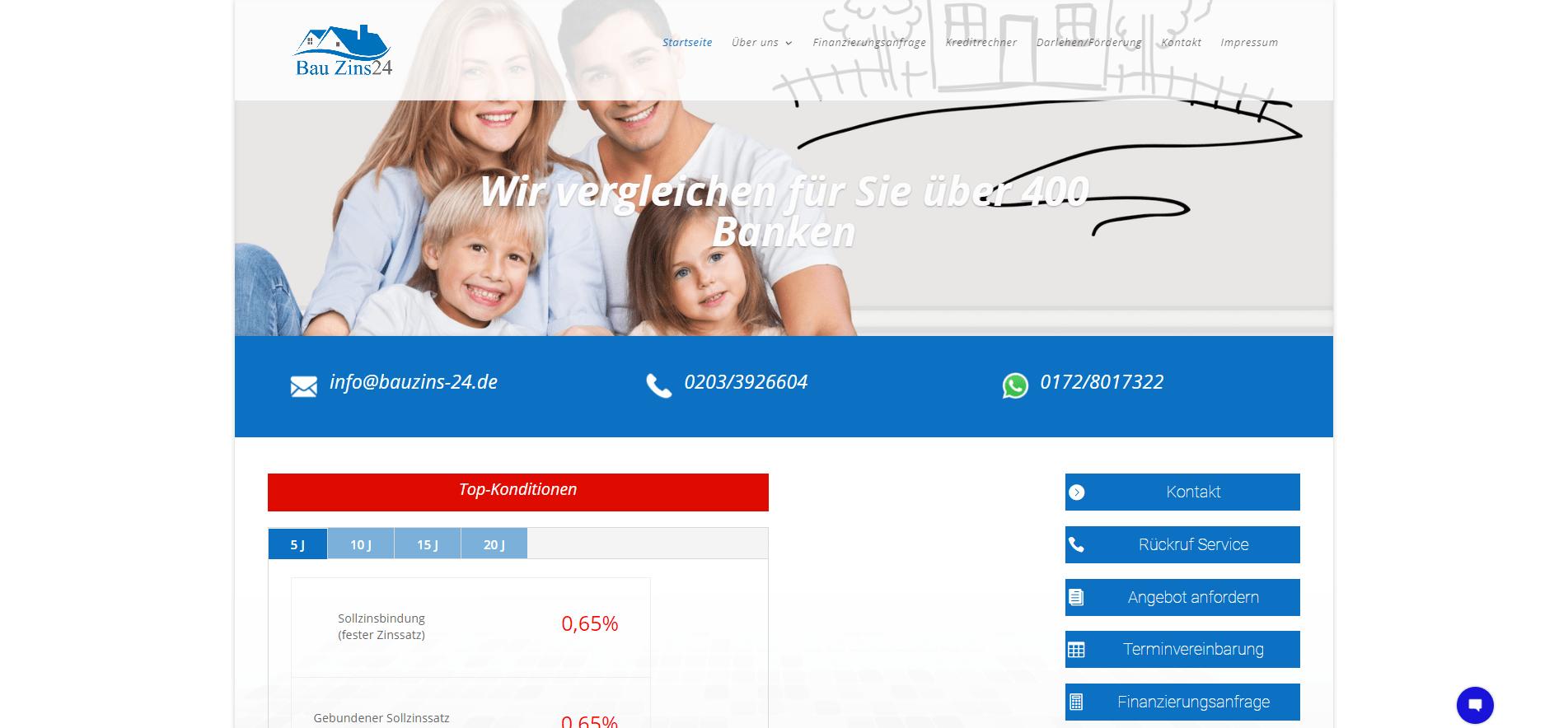 Bauzins24.de Bester Zins Vergleich von über 400 Banken.